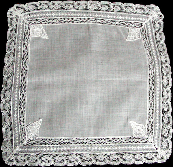 Antique Normandy Lace Heirloom White Wedding Handkerchief