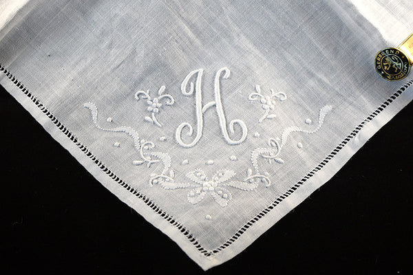 Monogram H Vintage Linen Handkerchief Madeira Embroid Hemstitch