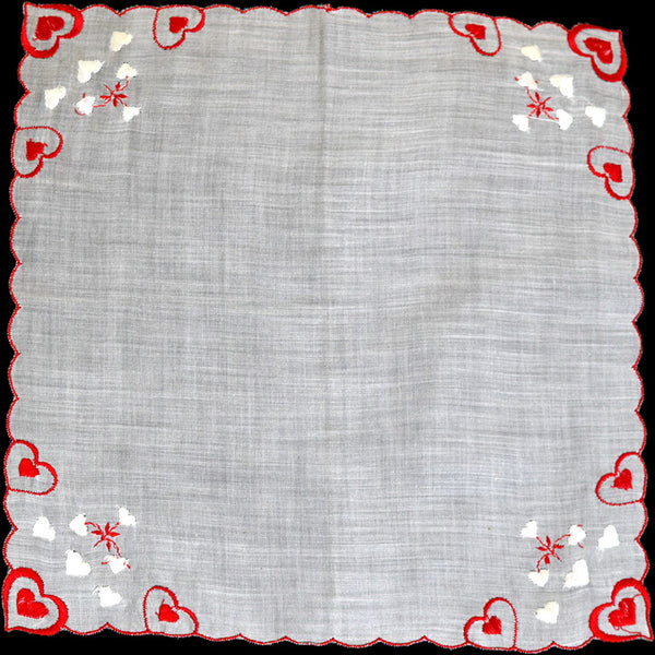 Embroidered Red and White Hearts Vintage Valentine Handkerchief
