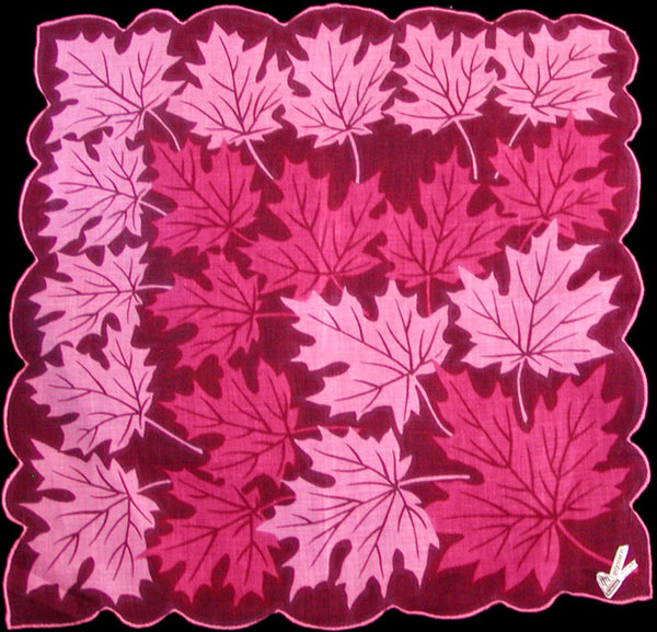 Pink Leaves on Wine Vintage Irish Linen Handkerchief, Herrmann