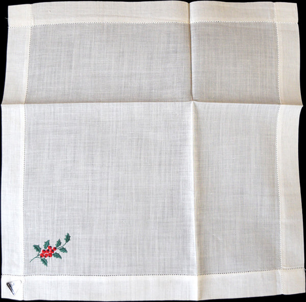 Holly Berries Embroider Vintage Christmas Handkerchief, Herrmann