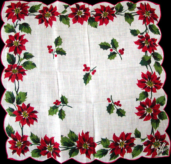 Herrmann Christmas Poinsettias Vintage Irish Linen Handkerchief
