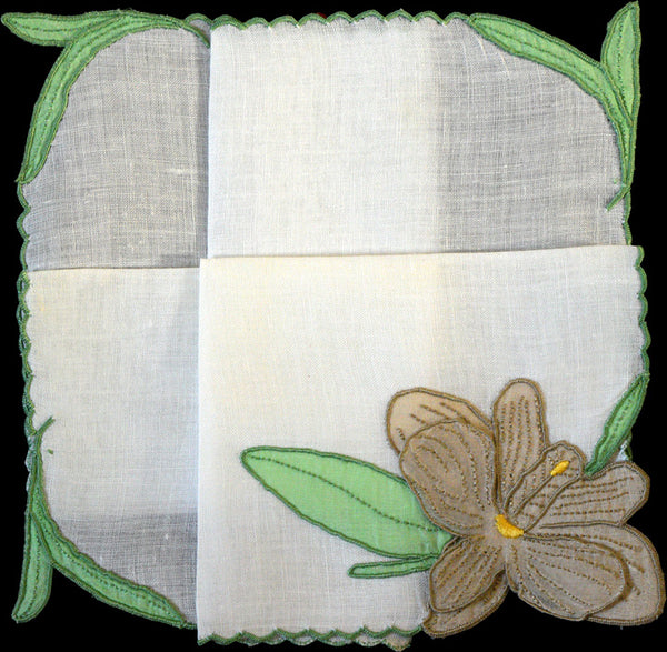 Anice Embroidered Hibiscus Trembler Vintage Handkerchief Madeira