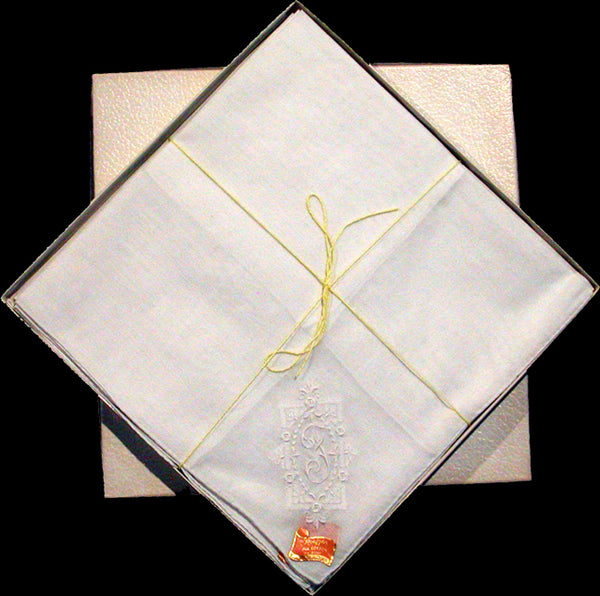 Box of 12 Vintage Ladies White Monogram F Handkerchiefs