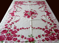 Fuchsia Floral Print w Roses Tulips Vintage Tablecloth 50x70