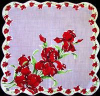 Red Irises on Orchid Vintage Handkerchief Hand Rolled Edges