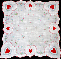 Red Valentine Hearts & Flowers Vintage Handkerchief