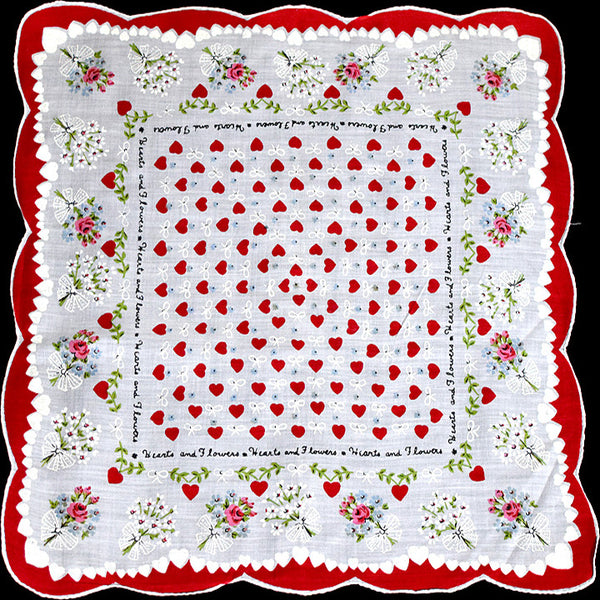 Hearts and Flowers Vintage Valentine Handkerchief
