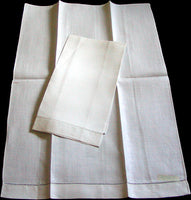 Fine White Vintage Irish Linen Guest Towels, Pair