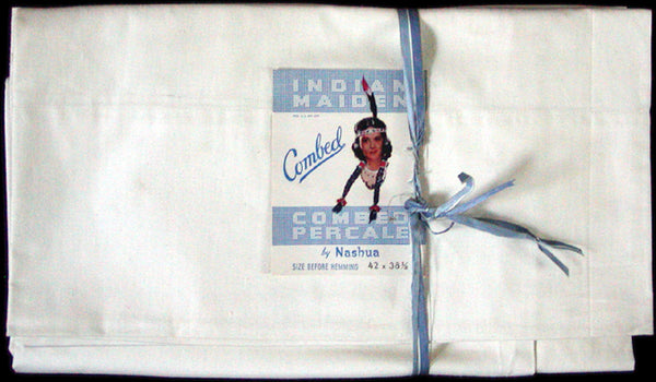 New Old Stock Combed Percale Vintage Pillowcases by Nashua, Pair