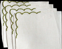 Imperial Madeira Embroider Oval Linen Placemats Napkins, 8 Pc Set