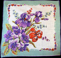 English Garden w Irises Lilies Vintage Handkerchief