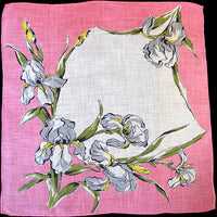 Bearded Irises Irish Linen Vintage Handkerchief