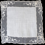 Embroidered Mesh Net Lace Vintage Wedding Handkerchief, Unused