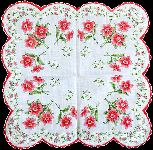 Jonquils in Red and Pink Vintage Handkerchief