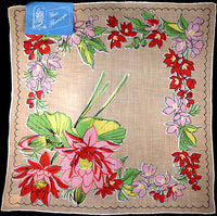 July Flower of the Month Vintage Linen Handkerchief, Kimball