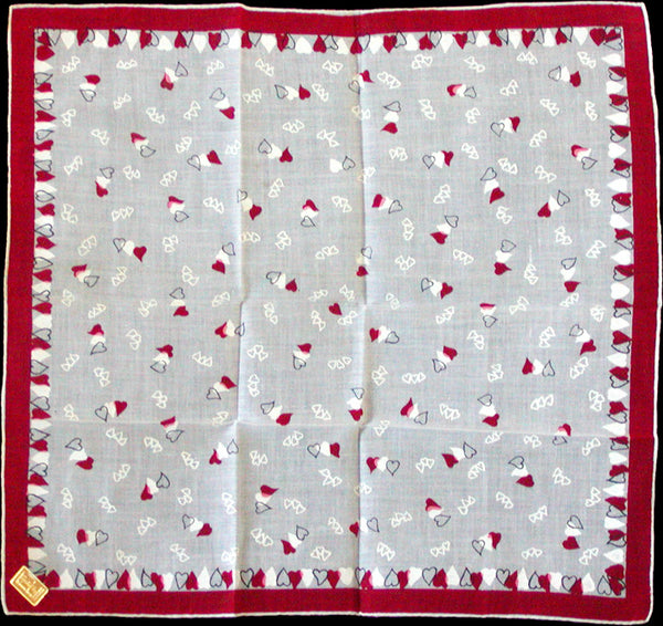 Hearts by Kimball Vintage Valentine Handkerchief New Old Stock