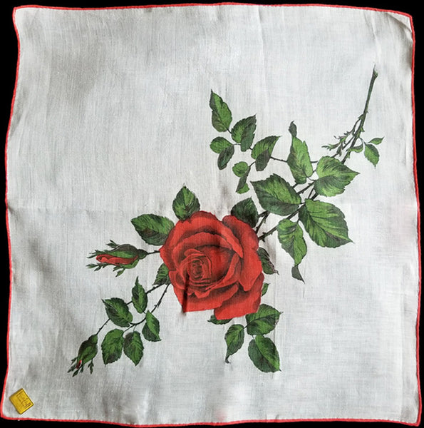 Red Rose on White Linen Vintage Handkerchief Kimball