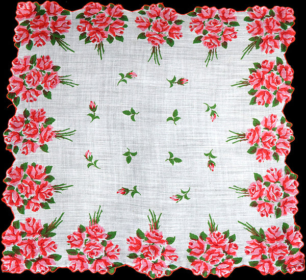 Border of Pink and Red Rose Nosegays Vintage Handkerchief
