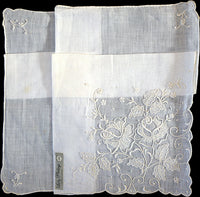 Fancy White Embroidered White Linen Vintage Handkerchief Madeira