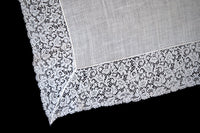 French Lace Floral Scrolls Vintage Linen Wedding Handkerchief