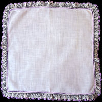 Fancy Lavender and Lace Vintage Irish Linen Handkerchief