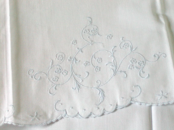 PR Madeira Scroll and Floral Embroidered Vintage Pillowcases