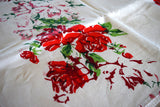 Red Shadow Roses Vintage Tablecloth, Linen 86x52