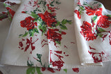 Red Roses and Shadows on Linen Vintage Tablecloth 86x52
