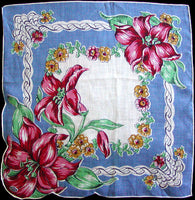 Red and Pink Lilies on Blue Irish Linen Vintage Handkerchief