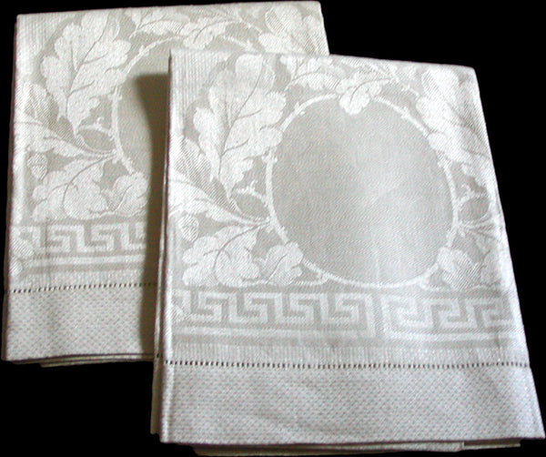 Oversize Antique Damask Acanthus & Greek Key Linen Towels, Pair