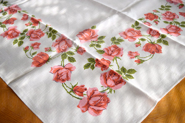 Coral Long Stem Roses on Linen Vintage Tablecloth 50x50