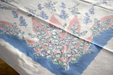 Lily of the Valley & Ribbon Pastel Vintage Tablecloth 48x52