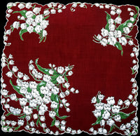 Lily of the Valley on Wine Vintage Handkerchief