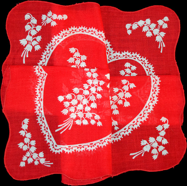 Secret Valentine Heart w Lily of the Valley Vintage Handkerchief