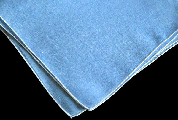 Burmel Hand Rolled Vintage Irish Linen Handkerchief, Light Blue
