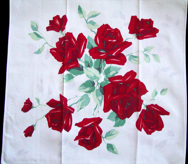Red Royal Rose Wilendur Vintage Kitchen Towel
