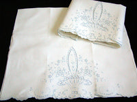 Vintage Pair Pillowcases Madeira Hand Embroidery Basket Design