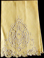Gray Cutwork on Yellow Madeira Vintage Linen Guest Towel