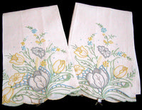 Pair of Vintage Hand Towels Made In Madeira Portugal Gremio Seal
