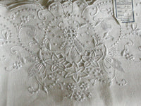 c1920 Madeira White Linen Pillowcases, Pair