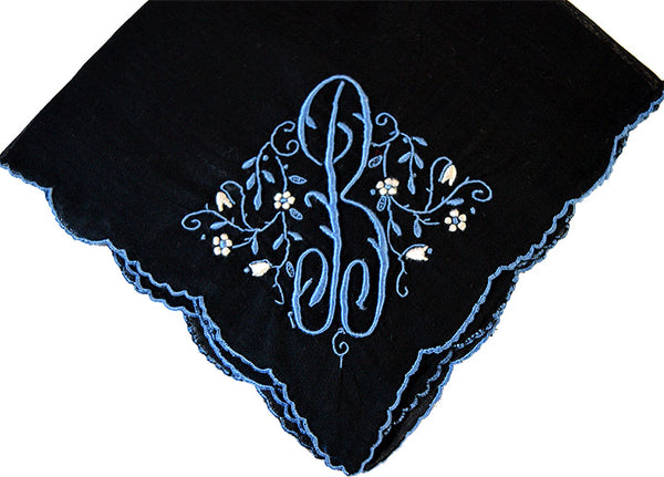 Monogram B on Black Vintage Handkerchief Madeira Blue Embroidery