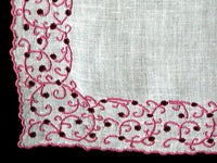 Marghab Thousand Eye Pink Vintage Handkerchief Madeira Portugal