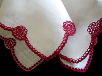 Marghab Eyelet Scallop Vintage Handkerchief Madeira Portugal Red