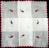 Marghab Strawberry Vintage Handkerchief Madeira Portugal w Box