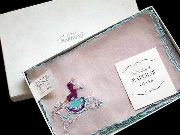 Marghab Varishka Vintage Margandie Cocktail Napkins MWT w Box