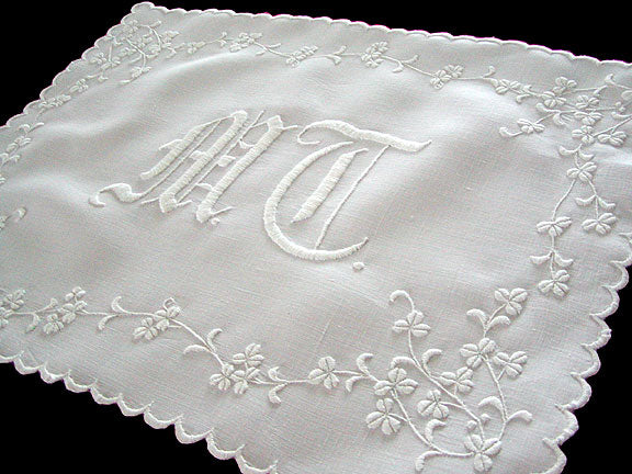 c1900 Whitework Embroidery Monogram Centerpiece Doily 15x19
