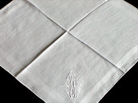 Monogram Y Vintage Handkerchief Embroidered White Linen