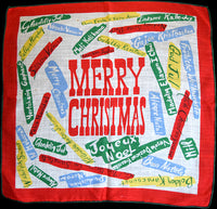 Multilingual Merry Christmas Greetings Vintage Handkerchief