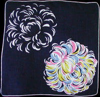 Big Pastel Mum on Dark Navy Vintage Handkerchief